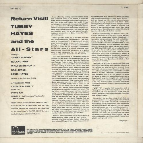 Tubby Hayes Return Visit! - 1st vinyl LP album (LP record) UK TH-LPRE416493