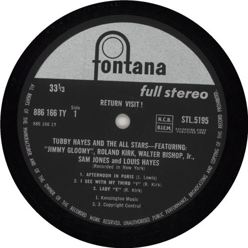Tubby Hayes Return Visit! - 1st vinyl LP album (LP record) UK TH-LPRE742779