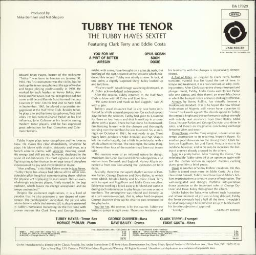 Tubby Hayes Tubby The Tenor - 180gm - Test Pressing vinyl LP album (LP record) US TH-LPTU772614