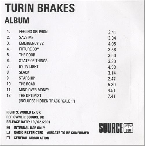Turin Brakes The Optimist CD-R acetate UK TKECRTH513912