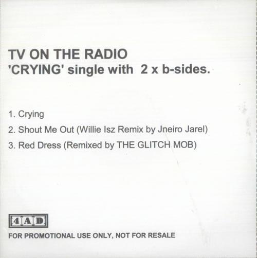 TV On The Radio Crying CD-R acetate UK TVECRCR528956