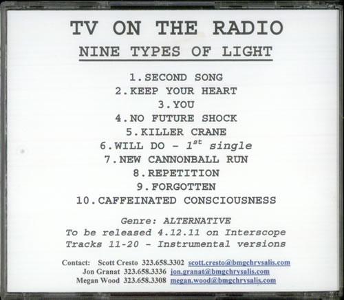 TV On The Radio Nine Types Of Light CD-R acetate US TVECRNI535775