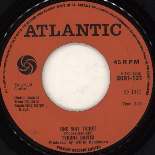 "Tyrone Davis One Way Ticket 7"" vinyl single (7 inch record) UK TY007ON728062"