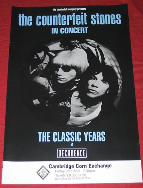 The Counterfeit Stones The Classic Years Of Decadence - 26/04 poster UK COQPOTH354300