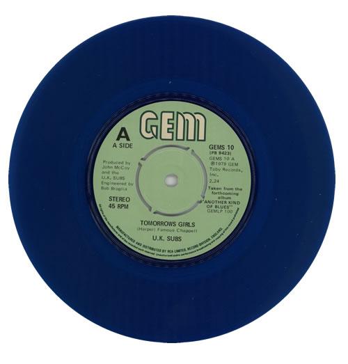 U K Subs Tomorrows Girls Blue Vinyl P S Uk 7 Quot Vinyl