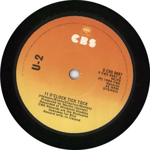 """U2 11 O'Clock Tick Tock - EX 7"""" vinyl single (7 inch record) Irish U-207OC515868"""