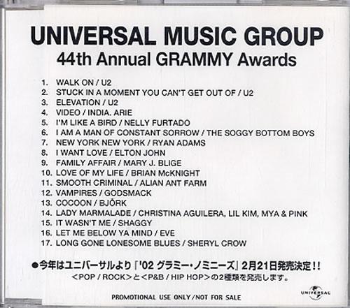 U2 44th Annual Grammy Awards CD-R acetate Japanese U-2CRTH629648