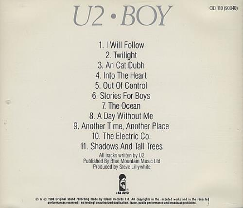 U2 Boy - No Barcode UK CD album (CDLP) (170919)