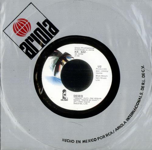 """U2 Deseo (Desire) 7"""" vinyl single (7 inch record) Mexican U-207DE46130"""