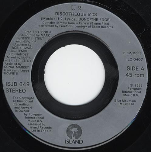 """U2 Discotheque - Jukebox 7"""" vinyl single (7 inch record) UK U-207DI114378"""