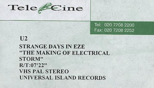 U2 Electrical Storm - The Making Of... video (VHS or PAL or NTSC) UK U-2VIEL225622