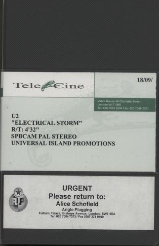 U2 Electrical Storm video (VHS or PAL or NTSC) UK U-2VIEL752860