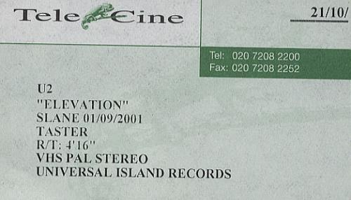 U2 Elevation - Slane 01/09/2001 Taster video (VHS or PAL or NTSC) UK U-2VIEL484726
