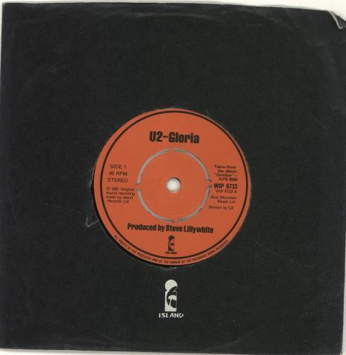 "U2 Gloria - 4pr 7"" vinyl single (7 inch record) UK U-207GL341119"
