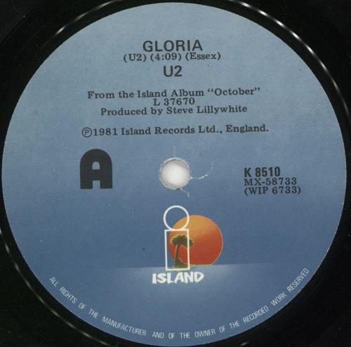 "U2 Gloria 7"" vinyl single (7 inch record) New Zealand U-207GL562303"