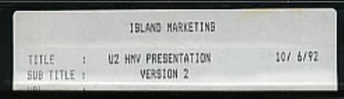 U2 HMV Presentation video (VHS or PAL or NTSC) UK U-2VIHM259700