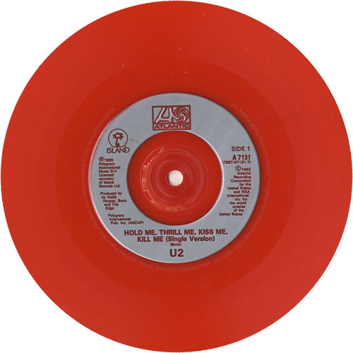 "U2 Hold Me, Thrill Me, Kiss Me, Kill Me - Red Vinyl 7"" vinyl single (7 inch record) UK U-207HO46895"