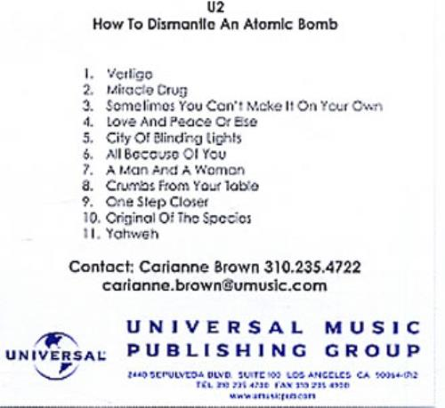 U2 How To Dismantle An Atomic Bomb US CD-R acetate (332540)