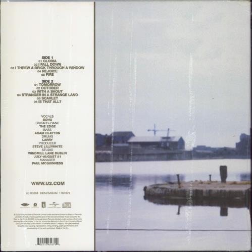 U2 October - 180gm - Sealed vinyl LP album (LP record) UK U-2LPOC774386
