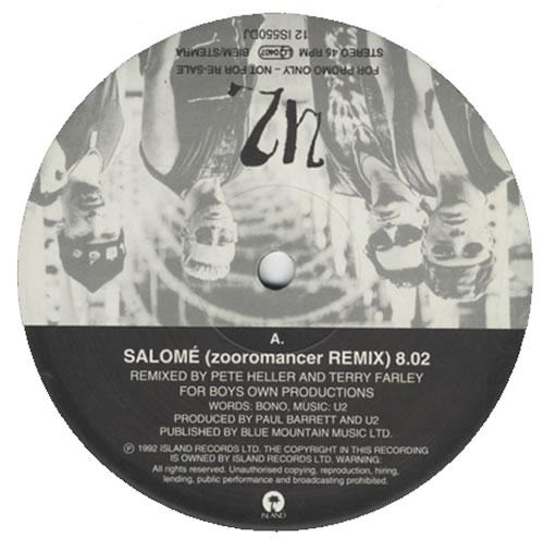 "U2 Salomé (Zooromancer Remix) 12"" vinyl single (12 inch record / Maxi-single) UK U-212SA18370"