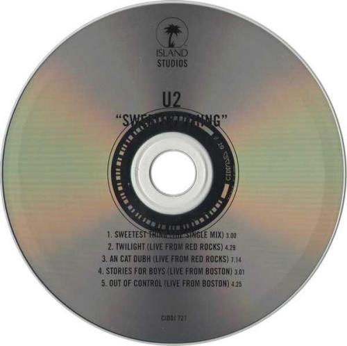 "U2 Sweetest Thing - 5 Track CD single (CD5 / 5"") UK U-2C5SW129403"