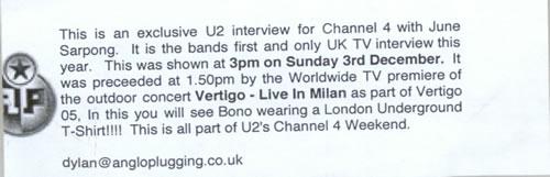 U2 T4 Music Special promo DVD-R UK U-2DRTM478978