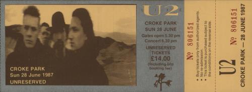 U2 The Joshua Tree + Envelope + Ticket tour programme UK U-2TRTH649321