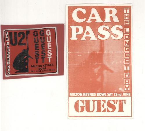 U2 The Longest Day - Guest Pass & Parking Permit tour pass UK U-2TPTH732180