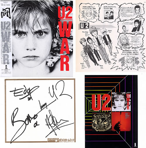 U2 War + Booklet + Signature Insert Japanese vinyl LP album (LP