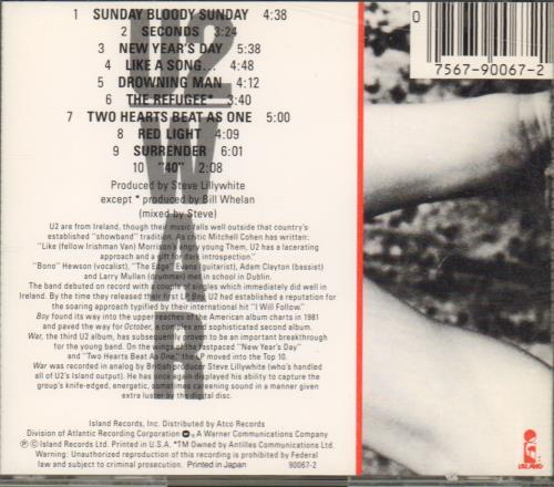 U2 War CD album (CDLP) US U-2CDWA672389