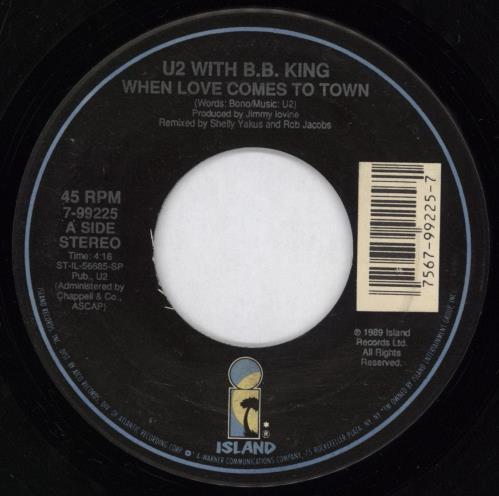 "U2 When Love Comes To Town 7"" vinyl single (7 inch record) US U-207WH771876"