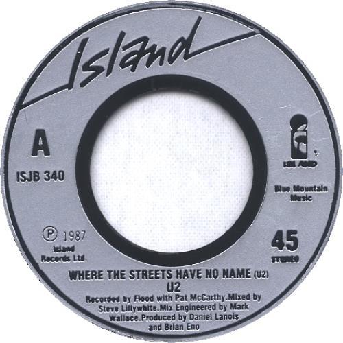 "U2 Where The Streets Have No Name - Jukebox 7"" vinyl single (7 inch record) UK U-207WH120703"