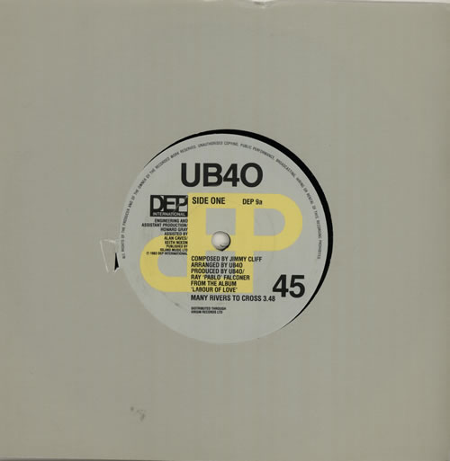 "UB40 Many Rivers To Cross 7"" vinyl single (7 inch record) UK UB407MA572968"