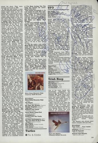 UFO Autographed Page of the NME Encyclopedia of Rock memorabilia UK UFOMMAU659079