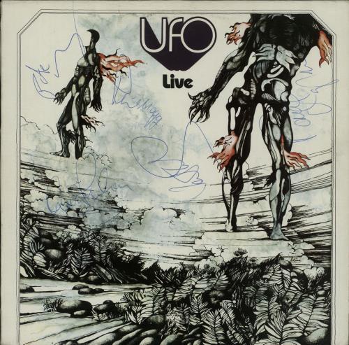 UFO Live - Autographed vinyl LP album (LP record) German UFOLPLI654445