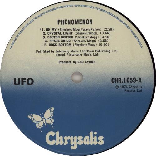 Ufo Phenomenon Blue Label Uk Vinyl Lp Album Lp Record