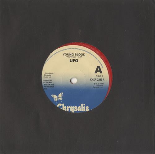 "UFO Young Blood - Red Vinyl 7"" vinyl single (7 inch record) UK UFO07YO568684"