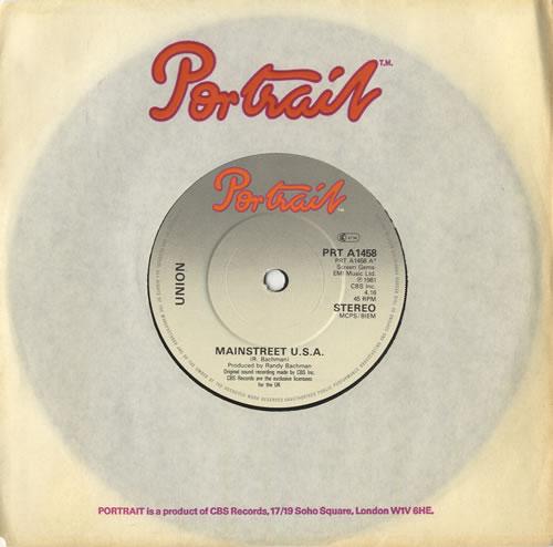 "Union [BTO] Mainstreet U.S.A. 7"" vinyl single (7 inch record) UK UN007MA449156"