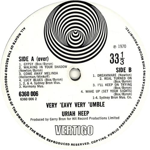 Uriah Heep Very 'eavy Very 'umble - 2nd Lrg Swirl vinyl LP album (LP record) UK URILPVE602615