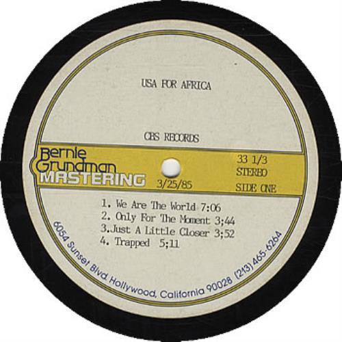 USA For Africa We Are The World - Acetate vinyl LP album (LP record) US UAFLPWE324298