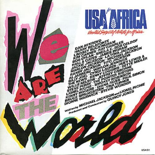 """USA For Africa We Are The World 7"""" vinyl single (7 inch record) UK UAF07WE98292"""