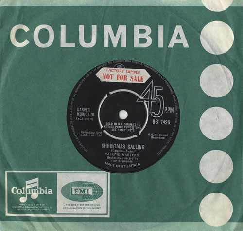 "Valerie Masters Christmas Calling 7"" vinyl single (7 inch record) UK VLM07CH468921"