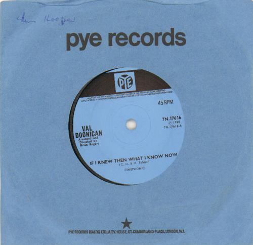 """Val Doonican If I Knew Then What I Know Now - Solid 7"""" vinyl single (7 inch record) UK VA207IF663597"""