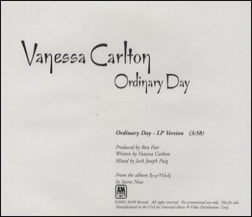 "Vanessa Carlton Ordinary Day - LP Version CD single (CD5 / 5"") US VNCC5OR268500"