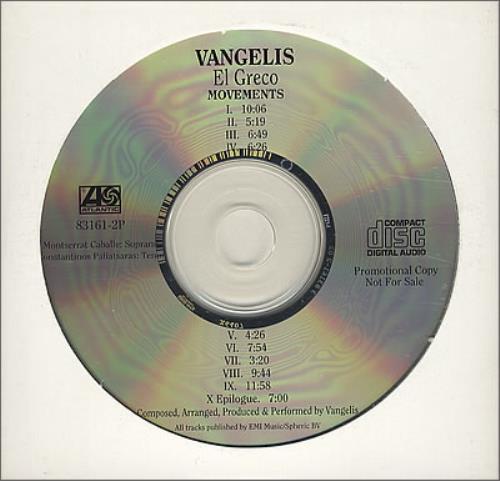 Vangelis El Greco CD album (CDLP) US VGECDEL187030
