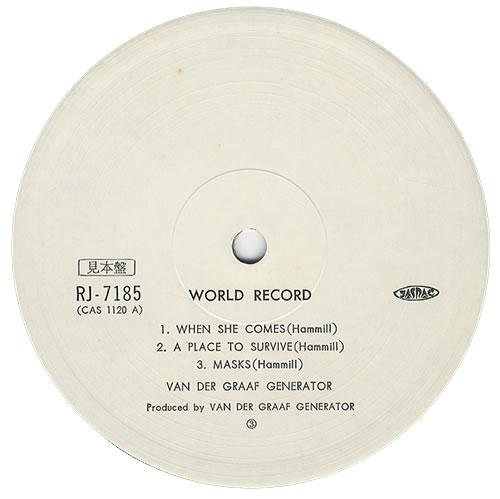 Van Der Graaf Generator World Record + Obi Japanese Promo vinyl LP