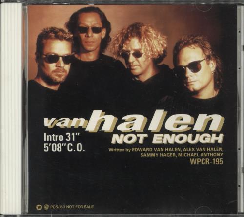 "Van Halen Not Enough CD single (CD5 / 5"") Japanese VNHC5NO119059"