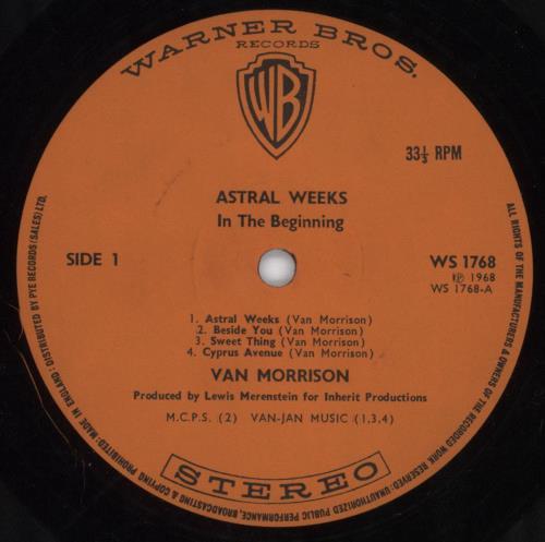 Van Morrison Astral Weeks 1st Orange Uk Vinyl Lp Album