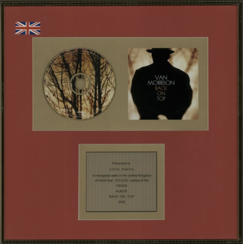Van Morrison Back On Top in-house award disc UK VMOAIBA600924