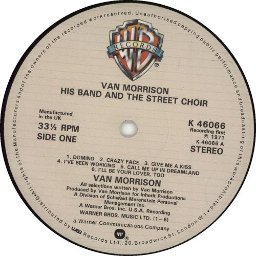 Van Morrison His Band And The Street Choir Cream Label